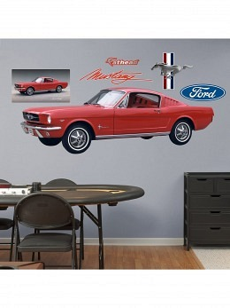 1965 Ford Mustag + Ford Logos Wall Sticker